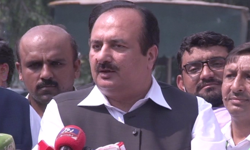 PML-N leader Rana Mashhood addresses a press conference. — DawnNewsTV