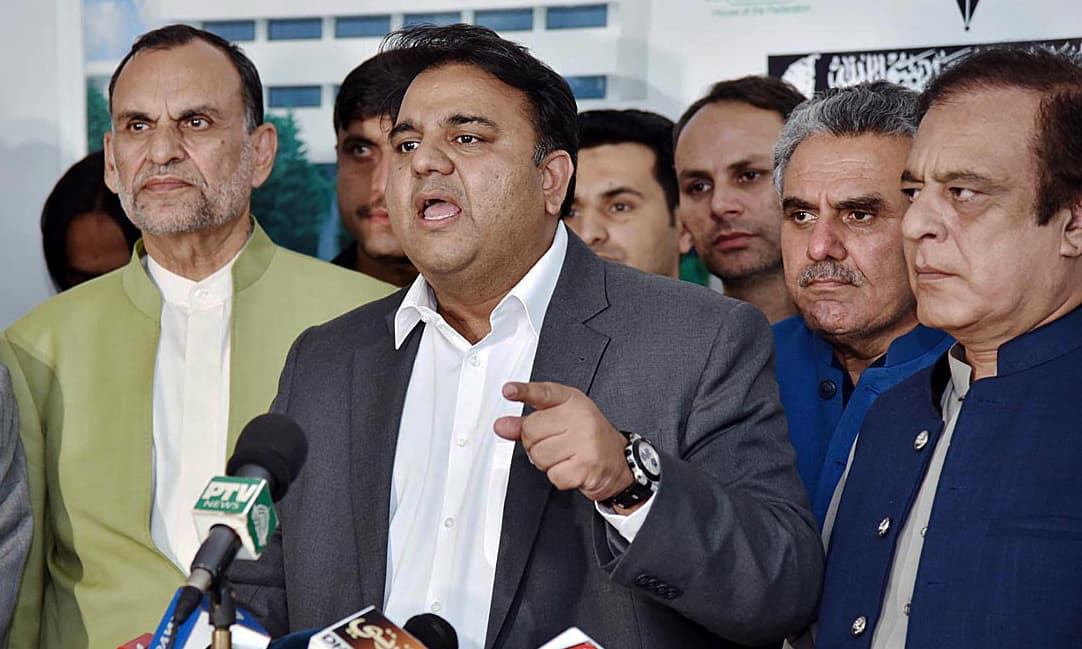 Information Minister Fawad Chaudhry talking to media. —APP