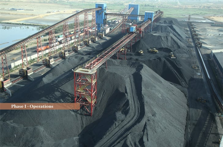 A view of coal yard at pibt. The high fee for coal handling is feared to affect exports as it will directly impact the cost of doing business.