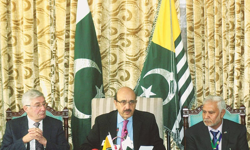 Azad Jammu and Kashmir President Sardar Masood Khan addresses a press conference at Kashmir House on Wednesday.—Online