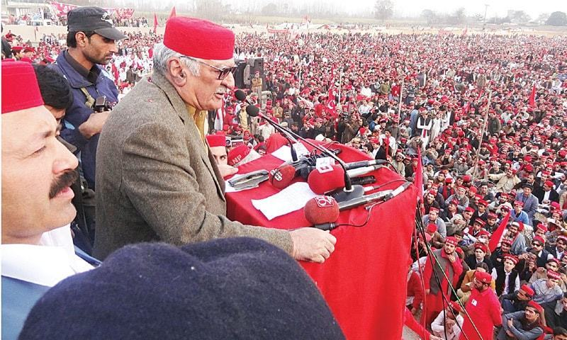 This file photo shows Awami National Party  president Asfandyar Wali Khan at a public meeting in 2017.