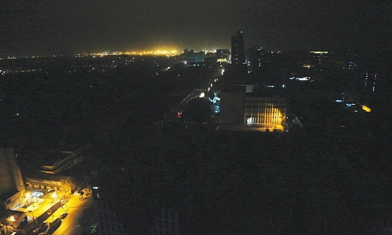 This file photo shows Karachi plunged into darkness during a blackout in August.