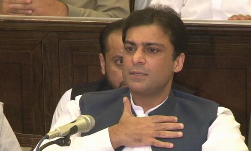 حمزہ شہباز لاہور میں پریس کانفرنس کر رہے ہیں — فوٹو: ڈان نیوز