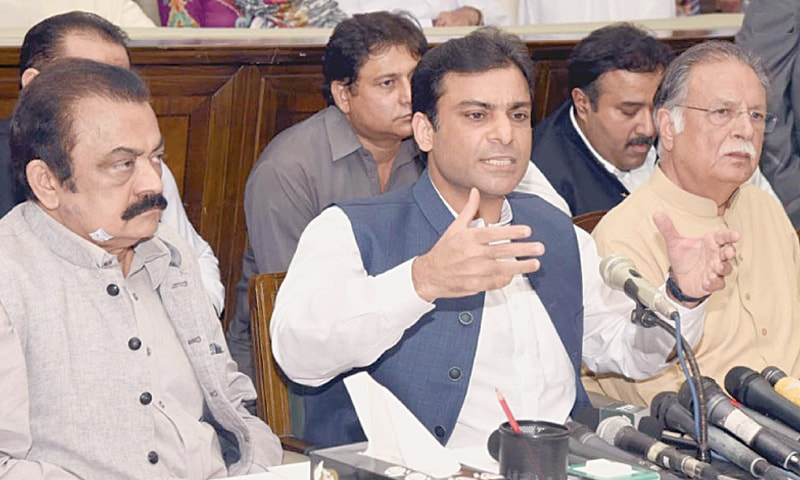 Pakistan Muslim League-Nawaz leader Hamza Shahbaz addresses a press conference in Lahore on Friday.—INP