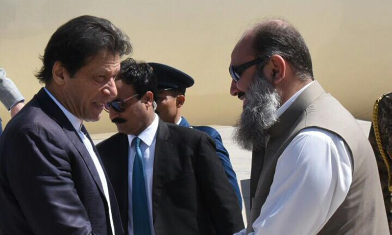 Balochistan CM receives PM Khan in Quetta. — Photo by author