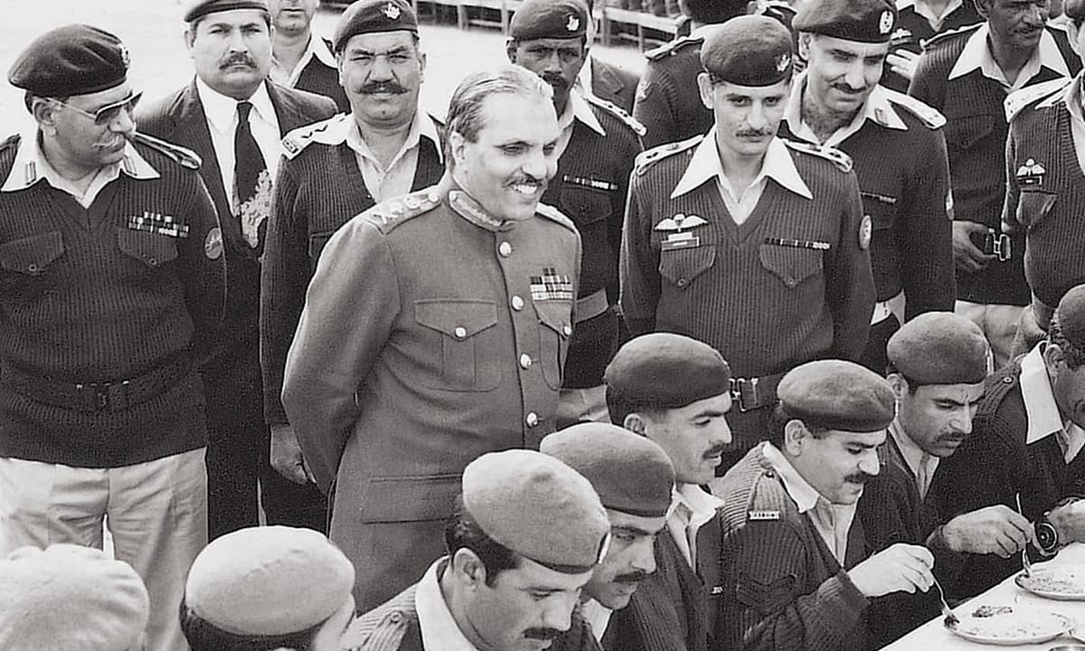 General Ziaul Haq, flanked by senior officers | White Star archives