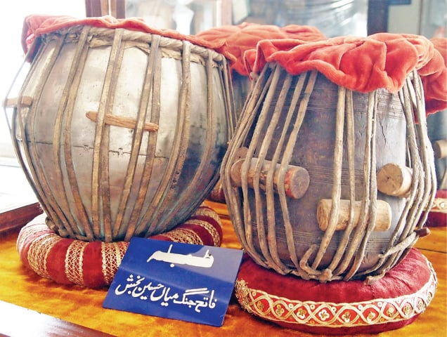 This set of tablas was played by musician Mian Hussain Bakhsh. — Photos by Ishaque Chaudhry