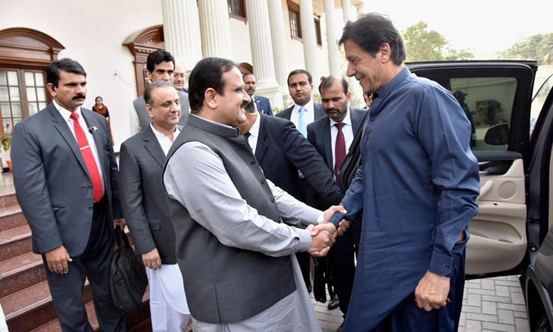 Punjab CM Usman Buzdar welcoming PM Imran Khan. — PTI