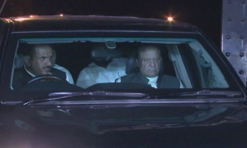 Nawaz Sharif arrives to meet Shahbaz.