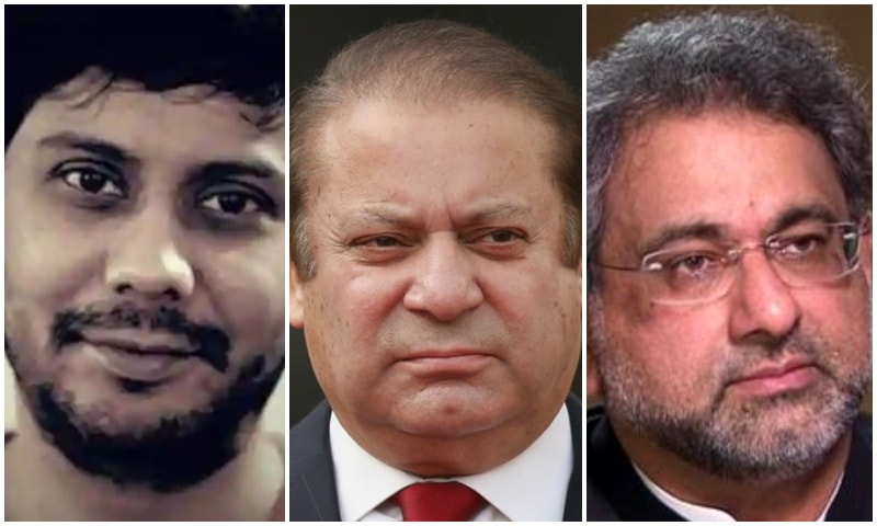 (L-R) Dawn Assistant Editor Cyril Almeida, ousted prime minister Nawaz Sharif, and former prime minister Shahid Khaqan Abbasi.