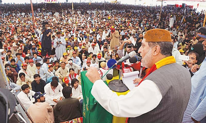 Sardar Akhtar Jan Mengal addresses a rally. — Photo/File