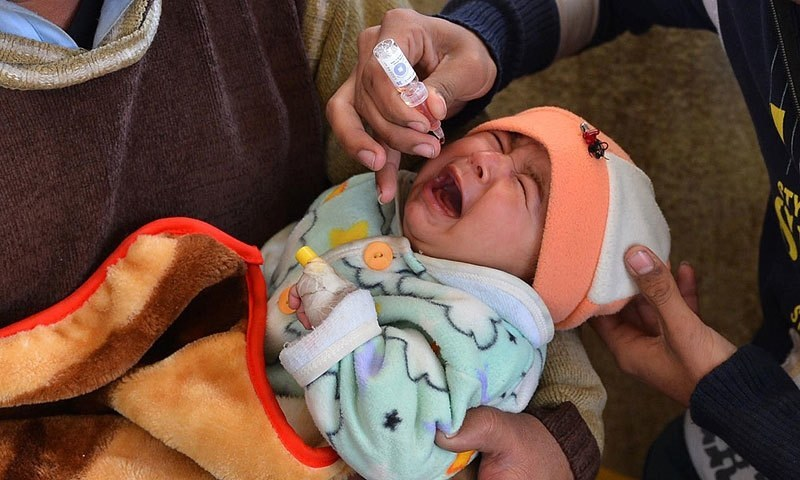 An infant being administered polio drops — File