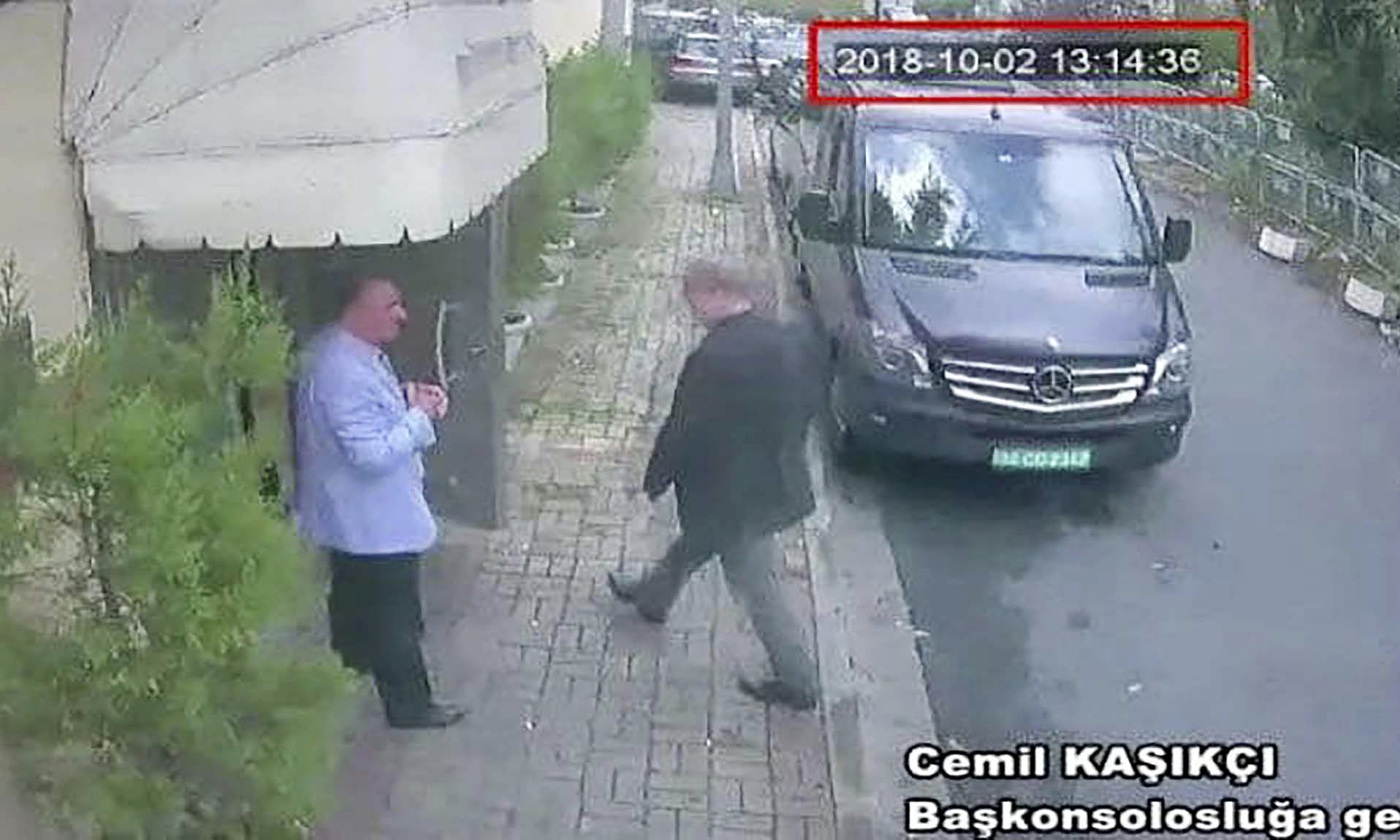 This image taken from a CCTV video obtained by the Turkish newspaper Hurriyet and made available on Tuesday claims to show Saudi journalist Jamal Khashoggi entering the Saudi consulate in Istanbul on Oct 2. — AP