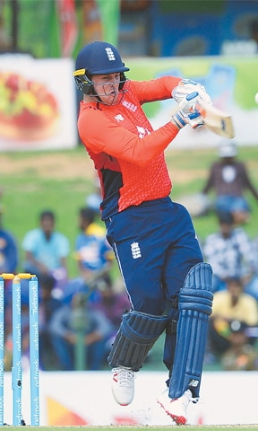 England opener Jason Roy plays a shot during the first One-day International against Sri Lanka at the Rangiri Dambulla International Cricket Stadium on Wednesday. — AFP