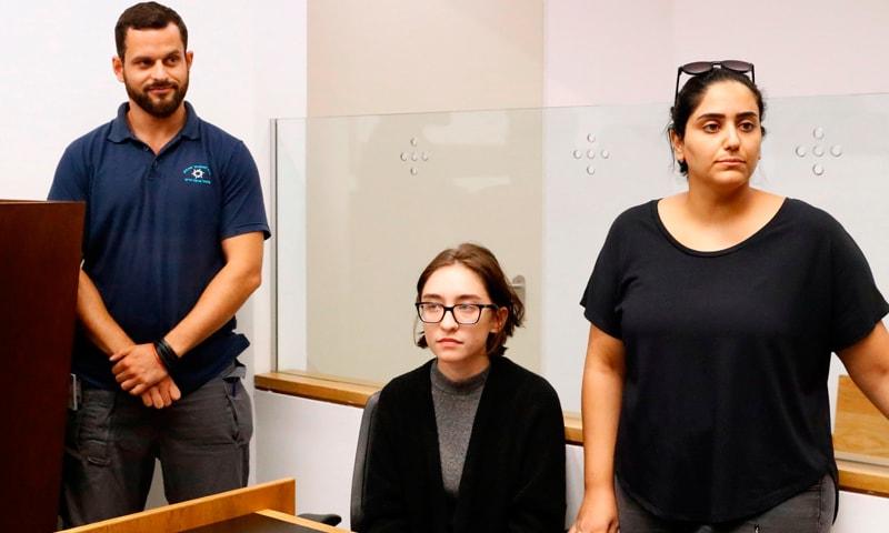 22سالہ امریکی طالبہ لارا القسم تل ابیب کی عدالت میں موجود ہیں— فوٹو: اے ایف پی