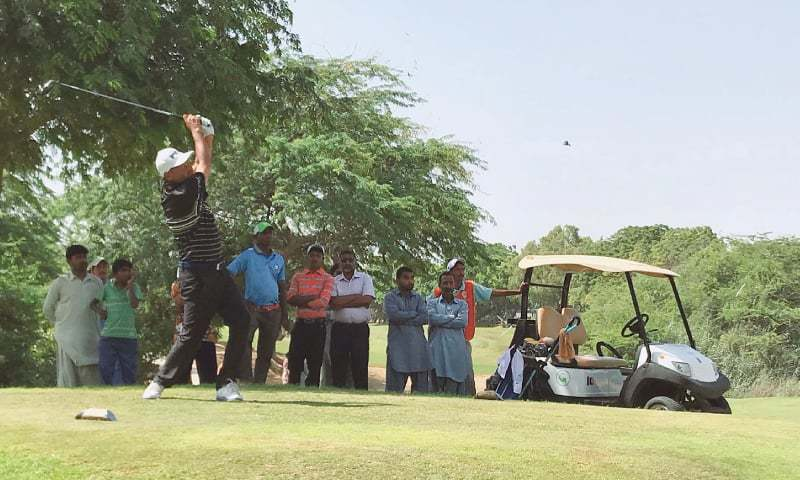 Shabbir Iqbal tees off on the 16th hole during the final round of the UMA-CNS Open Golf Championship at the Karachi Golf Club at the end of September. — File Photo