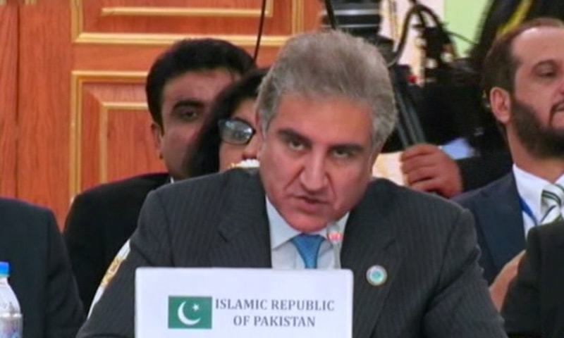 FM Qureshi at the SCO meeting on Friday. — Dawn