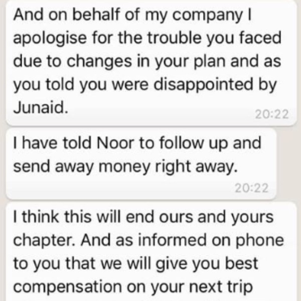 A part of her conversation with the travel company