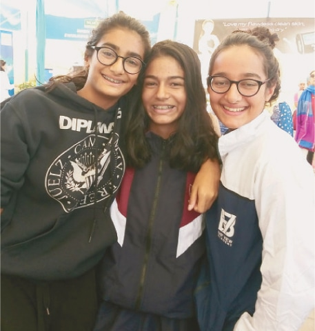ARISHA Lari (L) with fellow medal winners Zaaria Butt and Sasha Mir.—SH