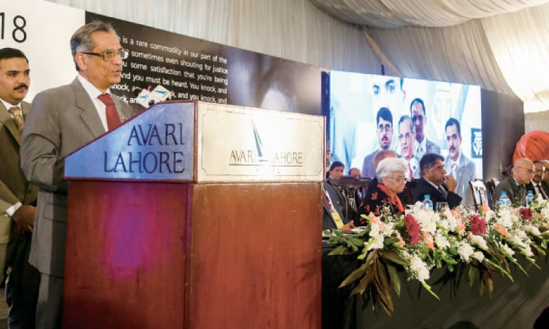 Chief Justice Saqib Nisar addresses the Asma Jahangir Conference. — White Star