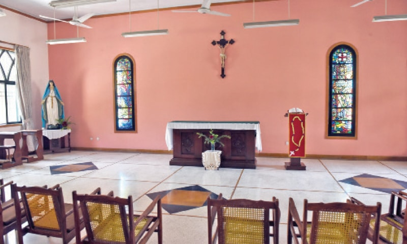 The chapel in the Sisters' House. — Photos by Tanveer Shahzad