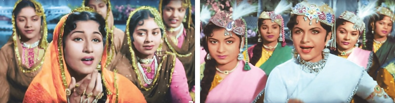 The most subtly presented muqabla (contest) was from Mughal-i-Azam (1960) between an innocent beauty Anarkali (Madhubala) and a makeup-aided charmer Bahar (Nigar Sultana), aided by Lata Mangeshkar and Shamshad Begum | Photos by the writer