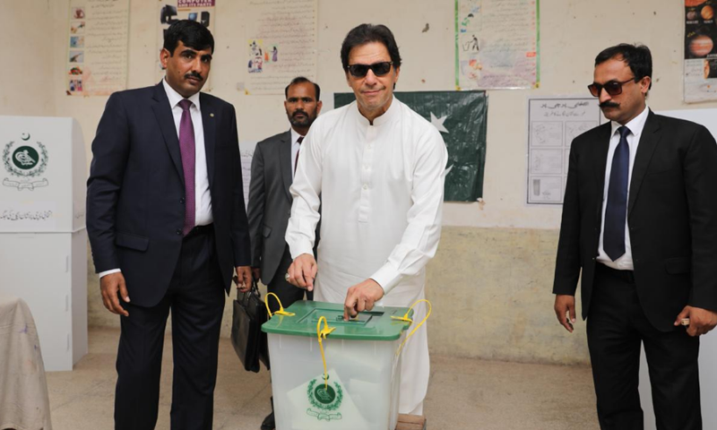 Prime Minister Imran Khan casts his vote in Islamabad's NA-53. —PTI