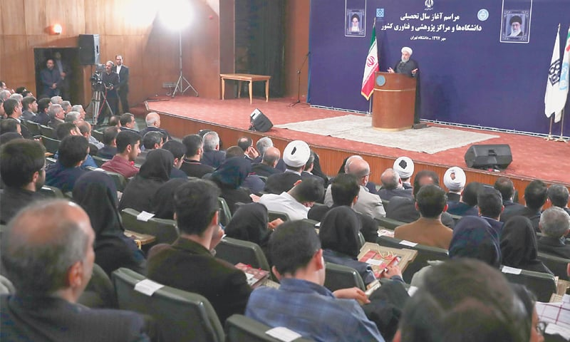 PRESIDENT Hassan Rouhani speaking at a programme in Tehran University on Sunday.—AFP