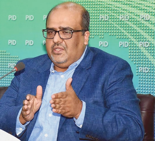 SHAHZAD Akbar, Special Assistant to Prime Minister on Accountability, addressing a press conference.—INP