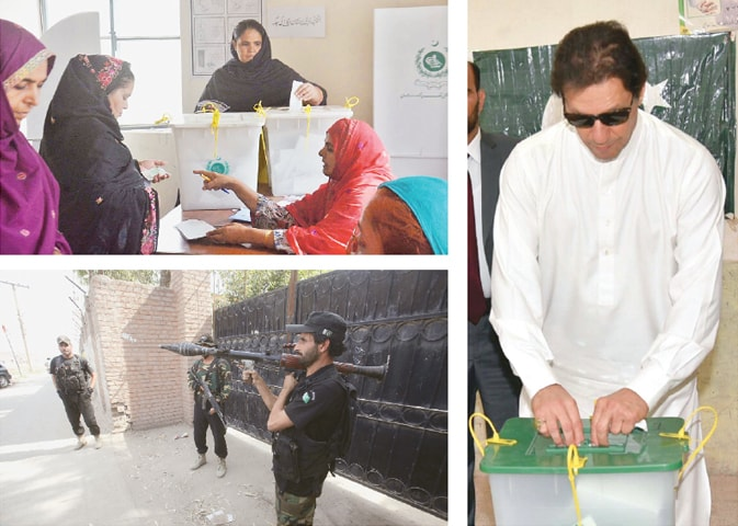 (Left top) A woman casts her vote at a polling station in Lahore's NA-124 constituency. (Right) Prime Minister Imran Khan casts his vote in Islamabad. (Left bottom) Security forces stand alert outside a polling station for women in Peshawar's PK-78.—APP / INP / White Star