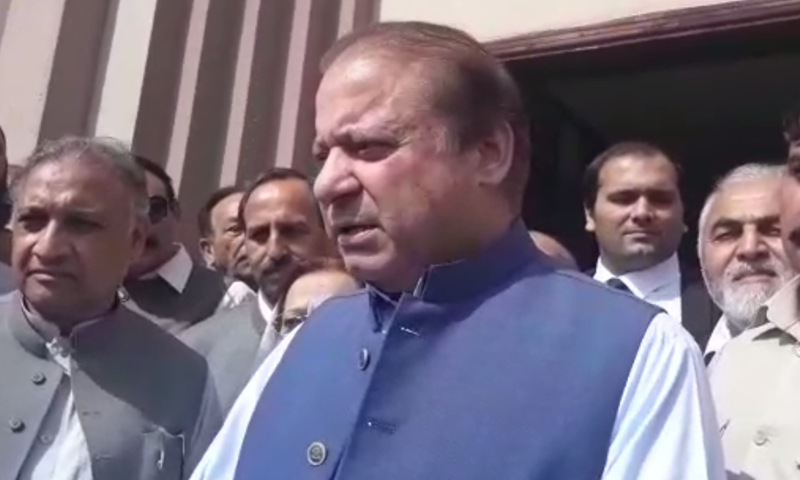Nawaz Sharif leaves accountability court where a hearing of a corruption reference against him was held. — Screengrab DawnNewsTv