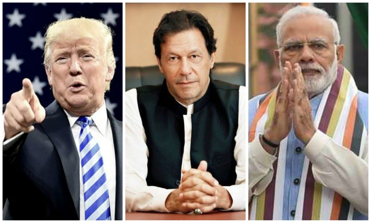 Image result for trump modi and imran khan meet