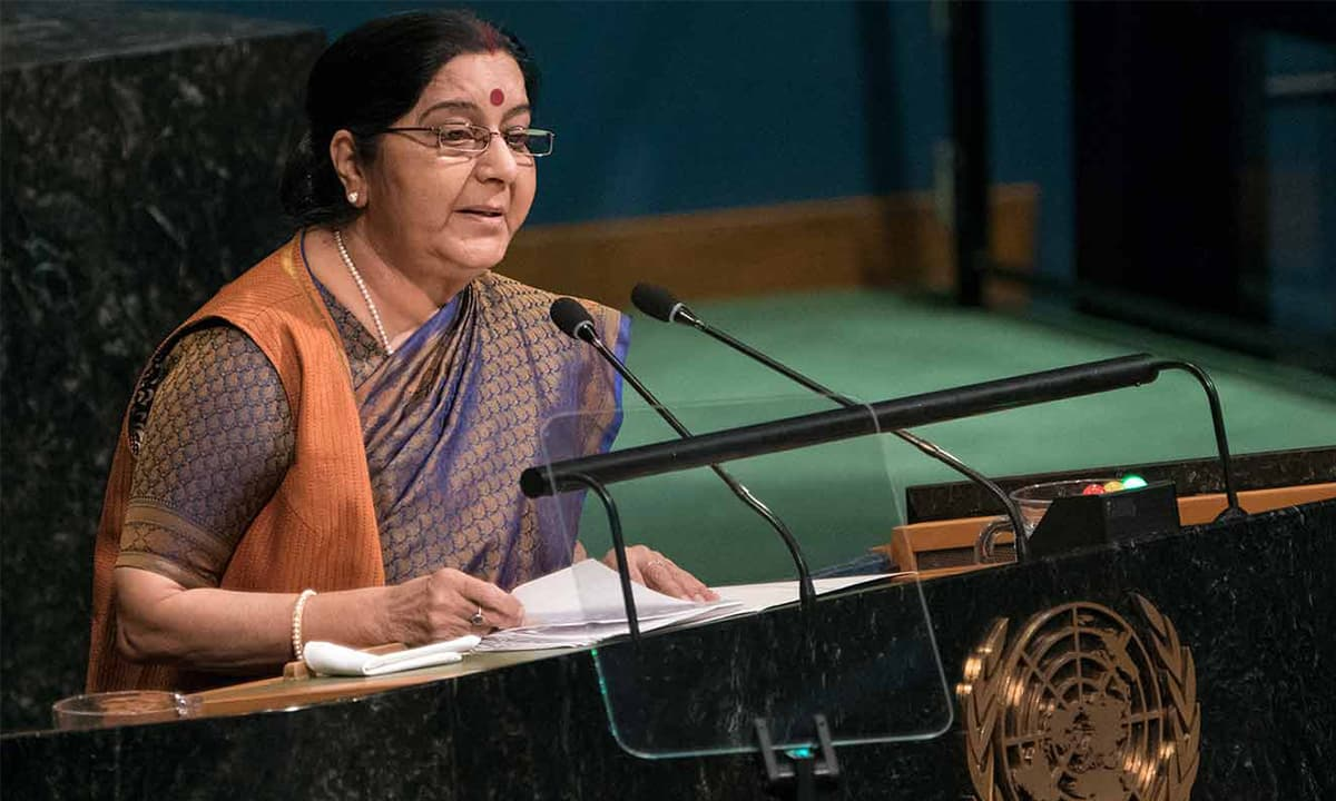 Indian External Affairs Minister Sushma Swaraj addresses the United Nations General Assembly in 2017 | AP