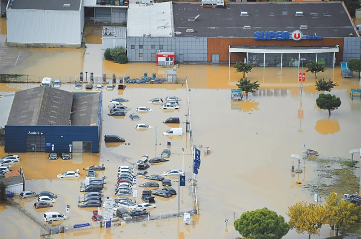 AN aerial view shows the flooded city of Trèbes in southern France on Monday.—AFP