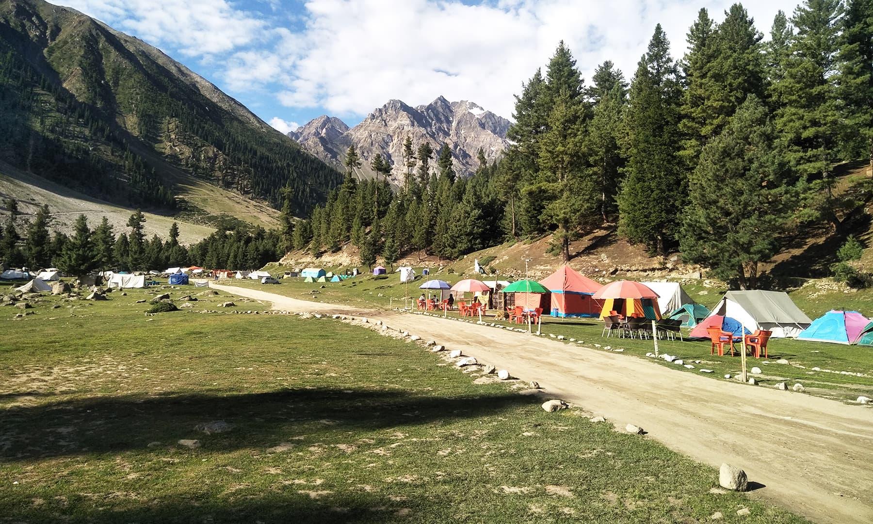 راما میڈوز میں سیاحوں کی رہائش کے لیے لگائے گئے کیمپس کا ایک منظر—تصویر عظمت اکبر