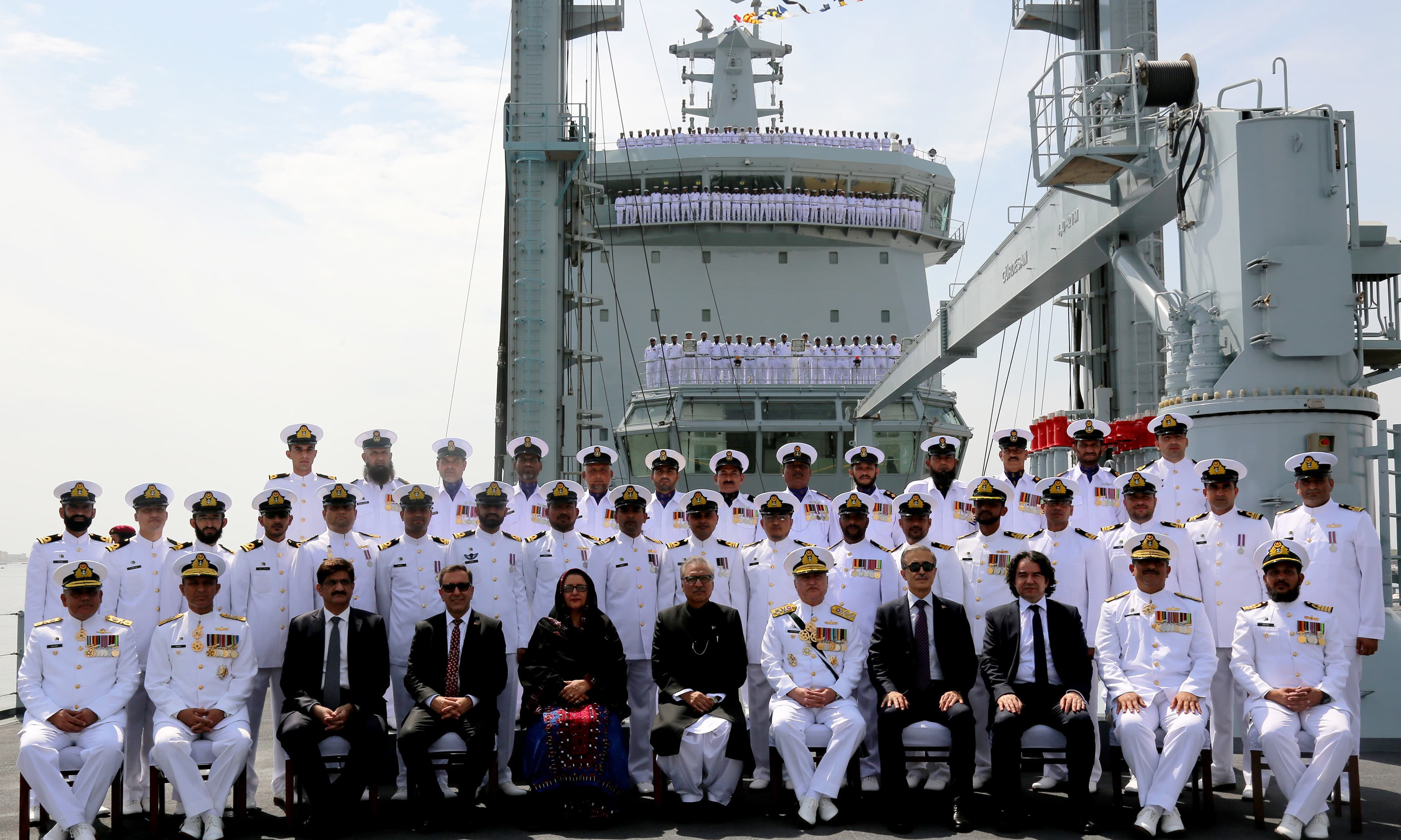 The ceremony was attended by President Alvi, Sindh Chief Minister Murad Ali Shah, Minister for Defence Production Zubeida Jalal, Naval Chief Admiral Z M Abbasi and senior naval officials. —Navy PR