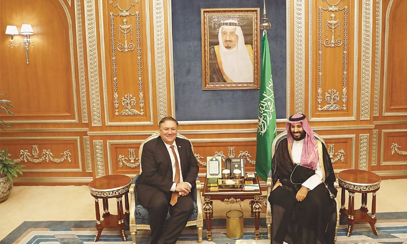 RIYADH: US Secretary of State Mike Pompeo meets Saudi Crown Prince Mohammed bin Salman on Tuesday.—AP