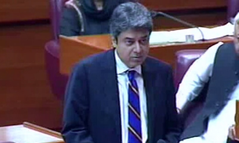 Law Minister Farogh Naseem addresses the NA. — DawnNewsTV