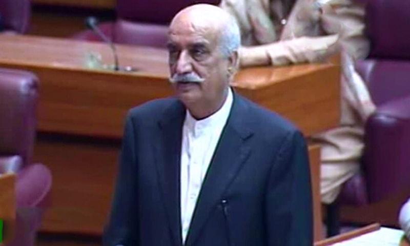 Khursheed Shah addresses the NA. — DawnNewsTV