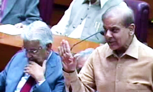 Shahbaz Sharif addresses the parliament. — DawnNewsTV