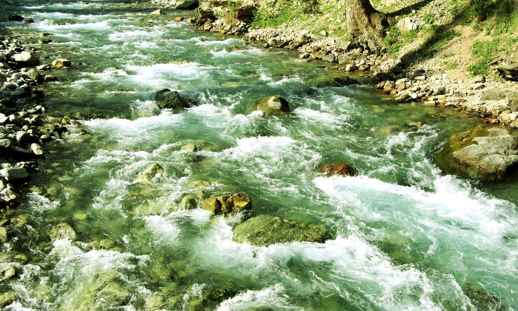 کُو جھیل اور راستے میں مختلف جھرنوں کا پانی مل کر اس ندی کی شکل اختیار کرلیتا ہے—امجد علی سحاب