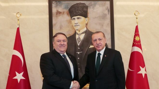US Secretary of State Mike Pompeo shakes hands with the Turkish President in Ankara on Wednesday. — AFP
