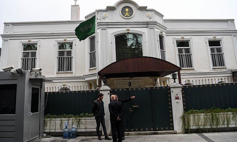 Security members of the consulate stand in front of Saudi Consul's residence on October 17, 2018 in Istanbul. —AFP