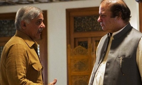PML-N President Shahbaz Sharif talks to former premier Nawaz Sharif. — Photo/File
