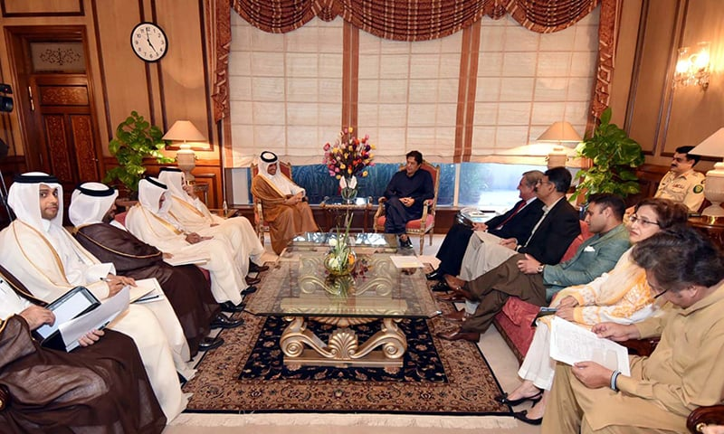 Prime Minister, Imran Khan exchanging views with Sheikh Mohammad Bin Abdul Rahman Al Thani, Deputy Prime Minster and Minister for  Foreign Affairs of the State of Qatar during a meeting held at the PM Office in Islamabad. —APP