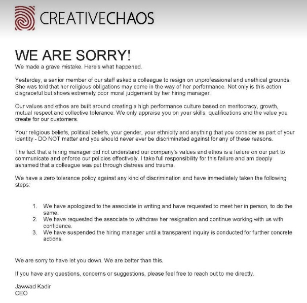 Apology shared by Creative Chaos on Facebook.