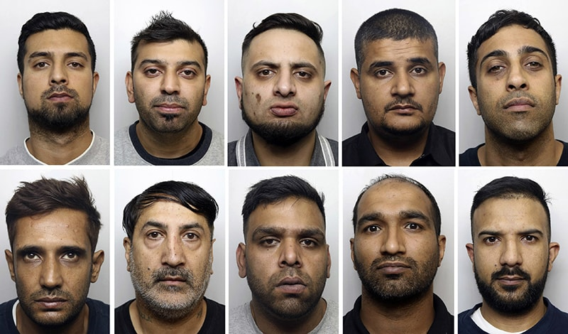 This undated handout photo shows, top row from left, Nasarat Hussain, Sajid Hussain, Faisal Nadeem, Mohammed Azeem, Wiqas Mahmud, and bottom row from left, Manzoor Hassan, Niaz Ahmed, Mohammed Imran Ibrar, Asif Bashir and Mohammed Akram, ten of the twenty men jailed in Huddersfield, England. — West Yorkshire Police via AP