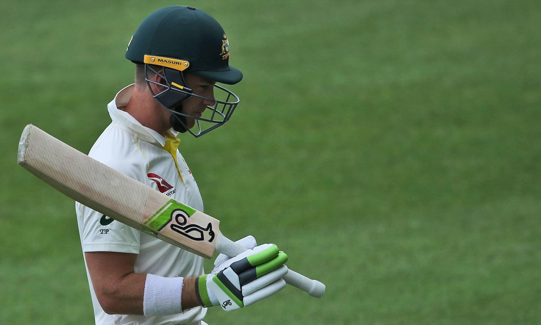 آسٹریلین ٹیم کے کپتان صرف تین گیندوں کے مہمان ثابت ہوئے اور بغیر کوئی رن بنائے پویلین لوٹے— فوٹو: اے ایف پی