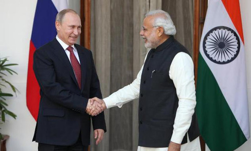 Russian President Vladimir Putin meets Indian PM Narendra Modi. — Photo/File