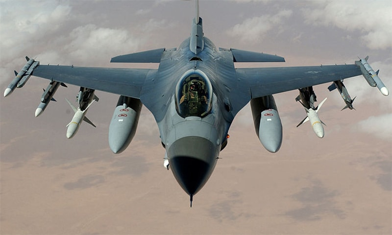 A US Air Force F-16 Fighting Falcon flies a mission in the skies near Iraq. ─ Wikimedia Commons